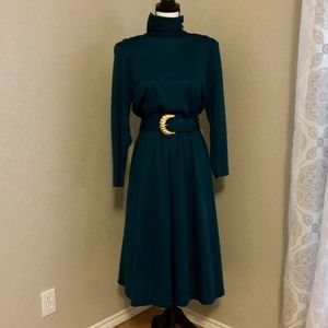Deep Teal 80s Vintage Mid Calf Dress  Women's 8